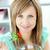nő · eszik · saláta · konyha · otthon · mosoly - stock fotó © wavebreak_media