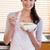 portret · vrouw · eten · granen · keuken · huis - stockfoto © wavebreak_media