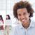 casual · empresario · sonriendo · cámara · equipo · detrás - foto stock © wavebreak_media