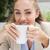 mooie · zakenvrouw · genieten · koffie · buiten · coffeeshop - stockfoto © wavebreak_media
