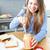mulher · alimentação · manteiga · de · amendoim · cozinha · comida - foto stock © wavebreak_media