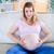 terhes · nő · néz · kamera · kezek · has · nappali - stock fotó © wavebreak_media