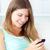 risonho · mulher · jovem · escrita · telefone · móvel · mulher - foto stock © wavebreak_media