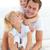pai · crianças · sessão · cama · casa - foto stock © wavebreak_media