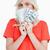 kobieta · ukrywanie · twarz · za · Dolar · banku - zdjęcia stock © wavebreak_media