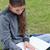 ernst · Studenten · Hausaufgaben · Sitzung · Gras · Landschaft - stock foto © wavebreak_media