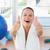 woman with towel gesturing thumbs up in gym stock photo © wavebreak_media