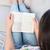 mooie · brunette · lezing · boek · bank · home - stockfoto © wavebreak_media