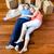 casal · almofadas · piso · mulher · relaxar - foto stock © wavebreak_media
