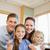 boldog · mosolyog · család · áll · mögött · konyhapult - stock fotó © wavebreak_media
