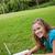 mosolyog · diák · lány · dolgozik · laptop · főiskola - stock fotó © wavebreak_media