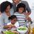 mutlu · aile · pişirme · salata · ev · mutfak · gıda - stok fotoğraf © wavebreak_media