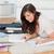 小さな · ブルネット · 女性 · 書く · ノートブック · カーペット - ストックフォト © wavebreak_media