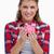 retrato · mulher · piggy · bank · branco · sorrir - foto stock © wavebreak_media