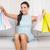 jonge · mooie · brunette · vrouw · winkelen · vergadering - stockfoto © wavebreak_media