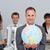 feliz · empresário · terno · globo · holograma - foto stock © wavebreak_media