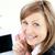 giovani · imprenditrice · indossare · cuffie · ufficio · donna - foto d'archivio © wavebreak_media
