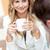 glimlachend · zakenvrouw · beker · koffie · laptop - stockfoto © wavebreak_media