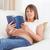 беременная · женщина · чтение · книга · гостиной · женщину · ребенка - Сток-фото © wavebreak_media