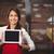 középső · rész · pincérnő · digitális · tabletta · kávézó · nő - stock fotó © wavebreak_media