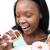 нетерпеливый · женщину · еды · торт · белый · продовольствие - Сток-фото © wavebreak_media