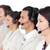 positive business team with headset on standing in a row stock photo © wavebreak_media