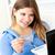 счастливым · женщину · кредитных · карт · ноутбука · домой · компьютер - Сток-фото © wavebreak_media