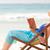 leitura · livro · praia · pôr · do · sol · mar - foto stock © wavebreak_media