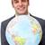 üzletember · világtérkép · földgömb · férfi · technológia · biztonság - stock fotó © wavebreak_media