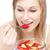 bela · mulher · alimentação · salada · de · frutas · branco · comida · feliz - foto stock © wavebreak_media