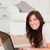 charmant · brunette · vrouw · ontspannen · laptop · tapijt - stockfoto © wavebreak_media