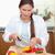 portre · genç · kadın · biber · mutfak · gıda - stok fotoğraf © wavebreak_media