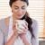 portret · vrouw · beker · koffie · keuken · gelukkig - stockfoto © wavebreak_media