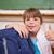 glimlachend · schoolmeisje · poseren · zak · duim · omhoog - stockfoto © wavebreak_media