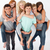 tieners · vrienden · op · de · rug · drie · gelukkig · paar - stockfoto © wavebreak_media