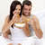luxe · hotel · huwelijksreis · ontbijt · paar · bed - stockfoto © wavebreak_media