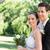 loving newly wed couple looking away in park stock photo © wavebreak_media