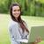 jungen · lächelnd · Mädchen · stehen · arbeiten · Laptop - stock foto © wavebreak_media