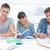drei · lächelnd · Studenten · Hausaufgaben · zusammen · alle - stock foto © wavebreak_media