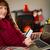vrouw · debit · card · winkelen · online · jonge · vrouw · sofa - stockfoto © wavebreak_media