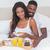 genç · kadın · kahvaltı · birlikte · beyaz · yatak - stok fotoğraf © wavebreak_media