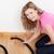 portrait of a jolly woman vacuuming stock photo © wavebreak_media