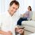 gelukkig · man · lunch · vriendin · ontspannen · sofa - stockfoto © wavebreak_media