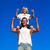 strong son sitting on his fathers shoulders stock photo © wavebreak_media