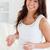 vonzó · terhes · nő · tart · üveg · víz · tabletták - stock fotó © wavebreak_media