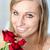 donna · sorridente · rosa · fiore · bellezza - foto d'archivio © wavebreak_media