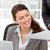 счастливым · деловая · женщина · чтение · бумаги · рабочих · ноутбука - Сток-фото © wavebreak_media