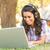 glimlachend · laptop · park · camera · vergadering - stockfoto © wavebreak_media