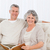 casal · de · idosos · olhando · câmera · casa · mulher · casa - foto stock © wavebreak_media