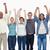 People raising their arms against white background stock photo © wavebreak_media